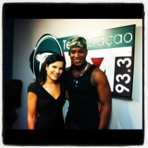 Ephrem J. and I... seconds before going on air on Farah de Wind's TeleCuraçao 93.3 FM show.