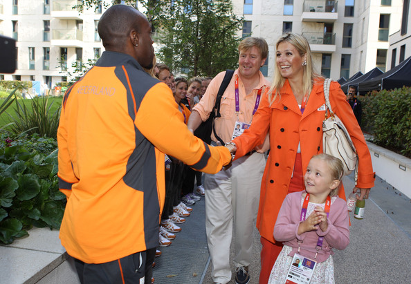 Princess Máxima greeting our National Hero; Olympic track star Churandy Martina.