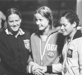 Petra Priemer, Kornelia Ender (East Germany) and Enith Brigitha at the 1976 Olympics.