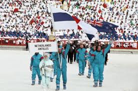 Bart Carpentier Altin (born in Curacao, 1954) and his teammate Bart Drechsel, carrying the Netherlands Antilles flag at the Calgary Winter Olympics in 1988.