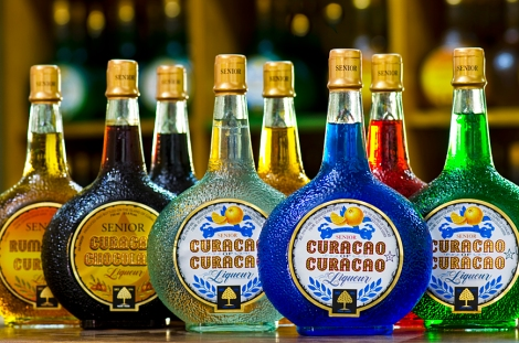 All the colors of Curacao Liqueur.