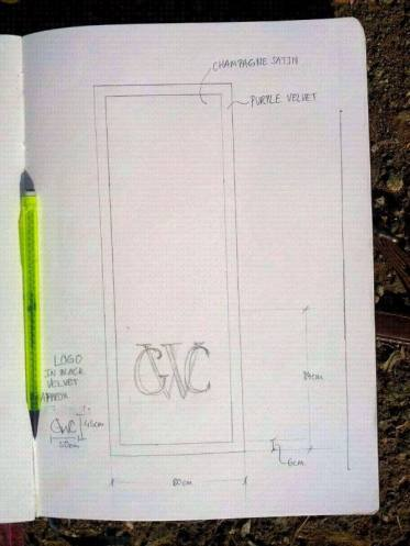 Designing the table runner for use in the Governor's chamber