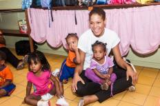 Curacao Cares visits Krèsh Bai Bini (daycare) with Omar Hamilton Group.