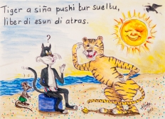 Translated: The Tiger has taught the cat every thing he knows, save his last trick / Reserve the master blow / Don't give away all your tricks.