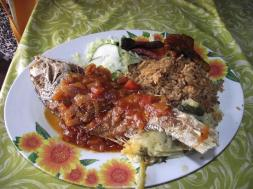 Red Snapper with hooopi sous krioyo.