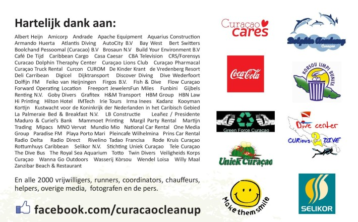 "Curacao Clean Up's Algemeen Dagblad ""Thank You"" card."